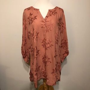 ANTHRO Maeve Boho Pink Floral Flowing Top- Size 2X